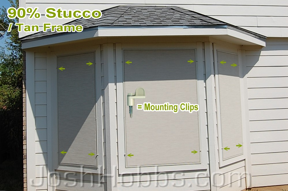 90% Stucco solar screens with metal mounting clips.