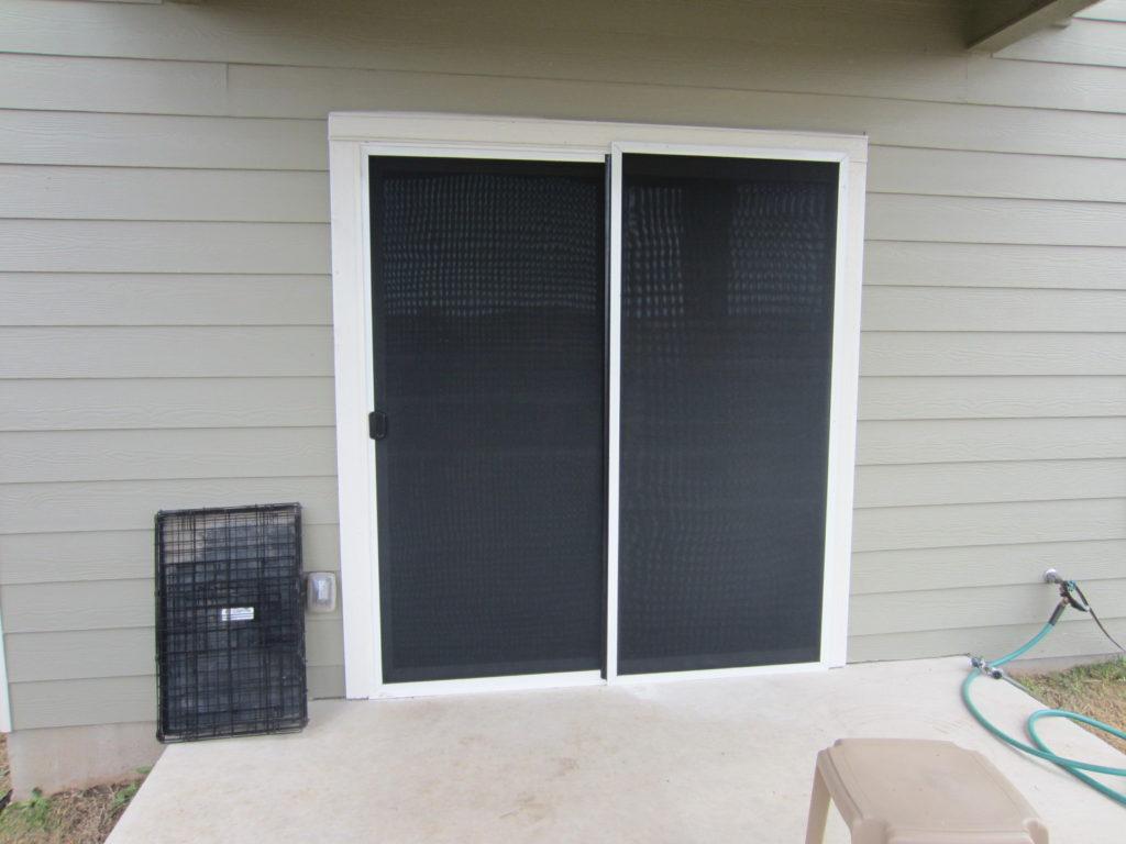 Solar Screen Sliding Door and Sliding Screen Door Pocket.