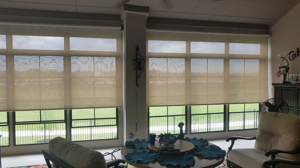 "The installed cost for these two Austin TX patio screens was $732. The installed price of $732 included one measure trip, one installation trip, sales-tax and (1) 125"" (1) 130"" wide Austin TX patio screens.  This patio screens customer used the 97% beige / white solar shade fabric."