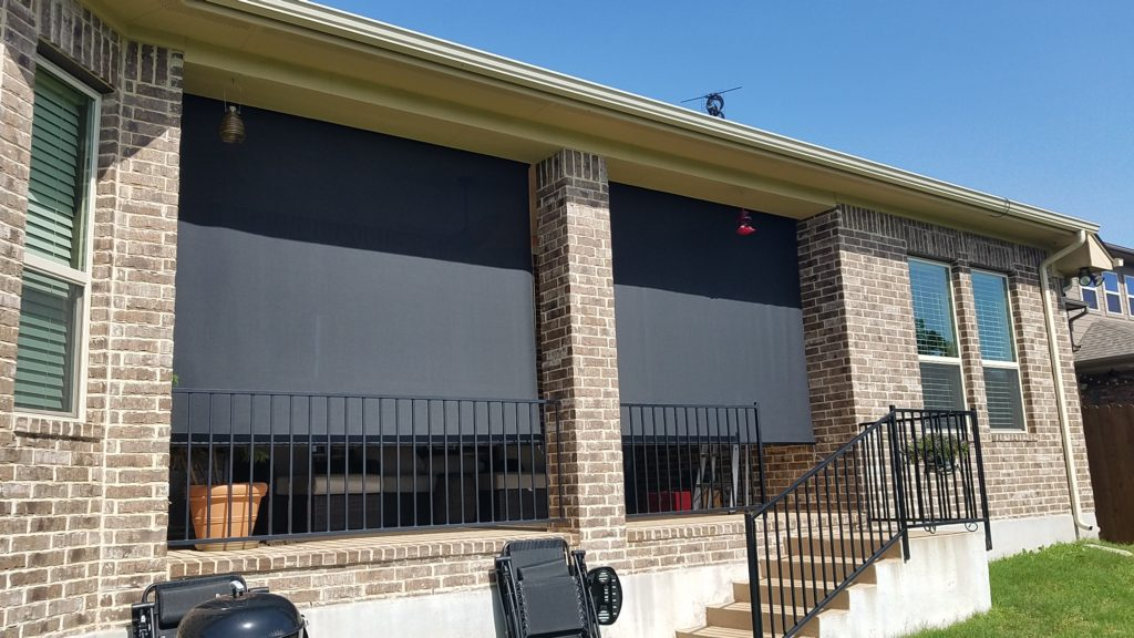 "The installed cost for these two outdoor patio screens for shade was $722. The installed price of $722 included one measure trip, one installation trip, sales-tax and (2) 105"" outdoor patio screens.  This outdoor patio screens customer used the 97% black sun shade fabric."