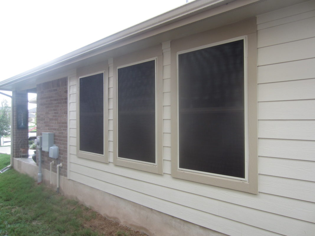 Three 80% Austin TX solar window screens for the left side.