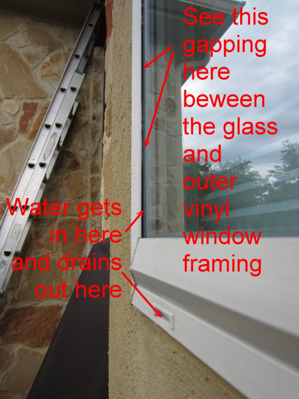 Showing how vinyl windows let in water and then drain out the weep hole.