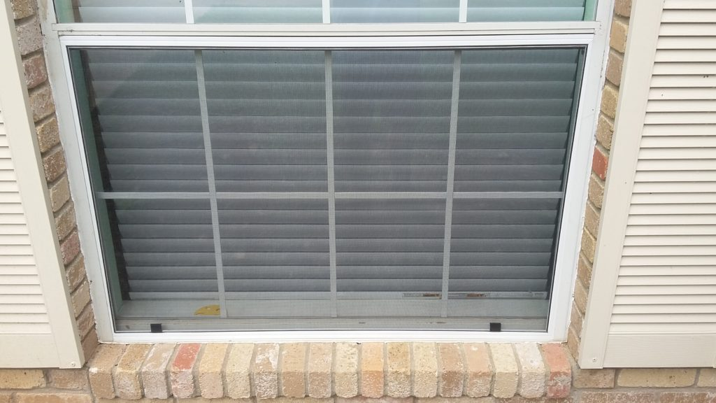 """This is a picture of a bug window screen that we made out of our 1"""" heavy duty framing."""