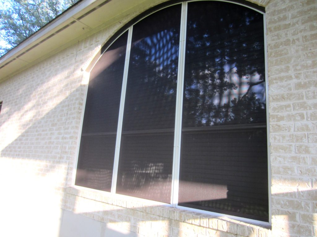 Looking in 3 Arched 80% solar screens.