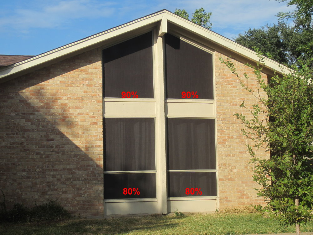 The upper two windows have 90% solar screens. And the bottom windows are using 80% solar screens.