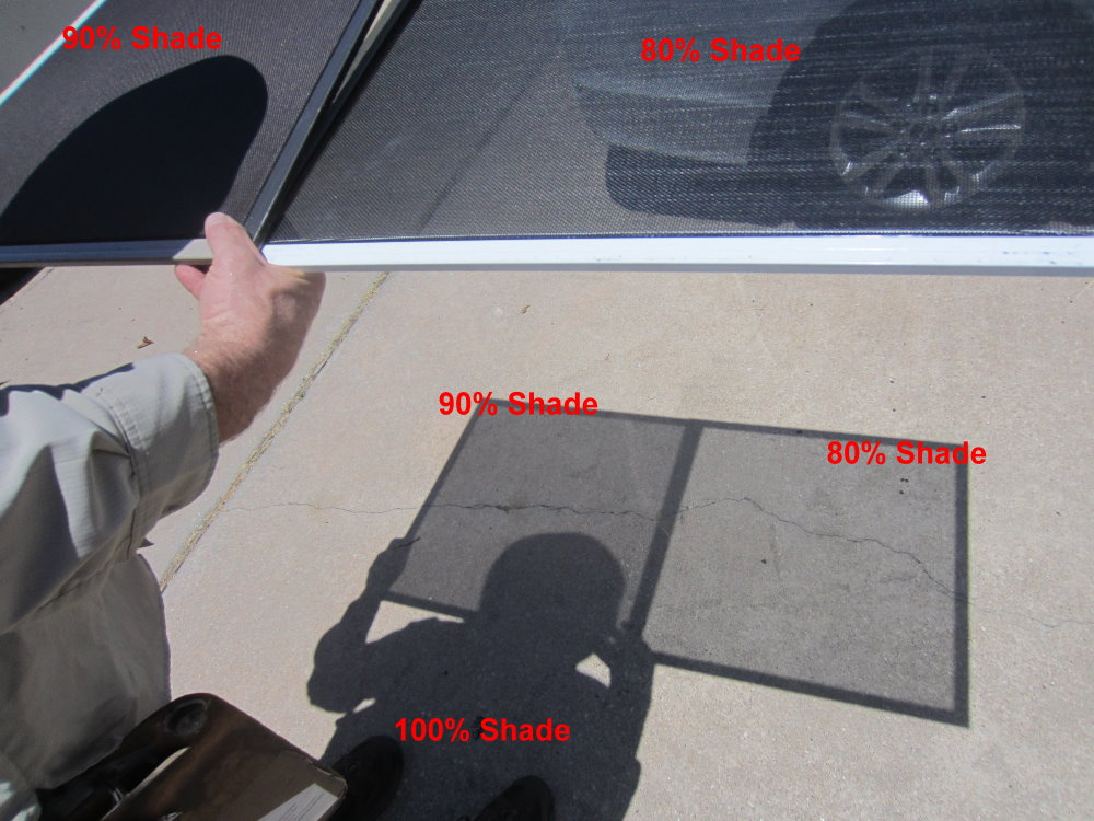 Outstanding picture showing three perspectives. 90% shade, 80% shade, and 100% shade. That's me, Josh, holding a 90% solar screen and an 80% solar screen side by side.