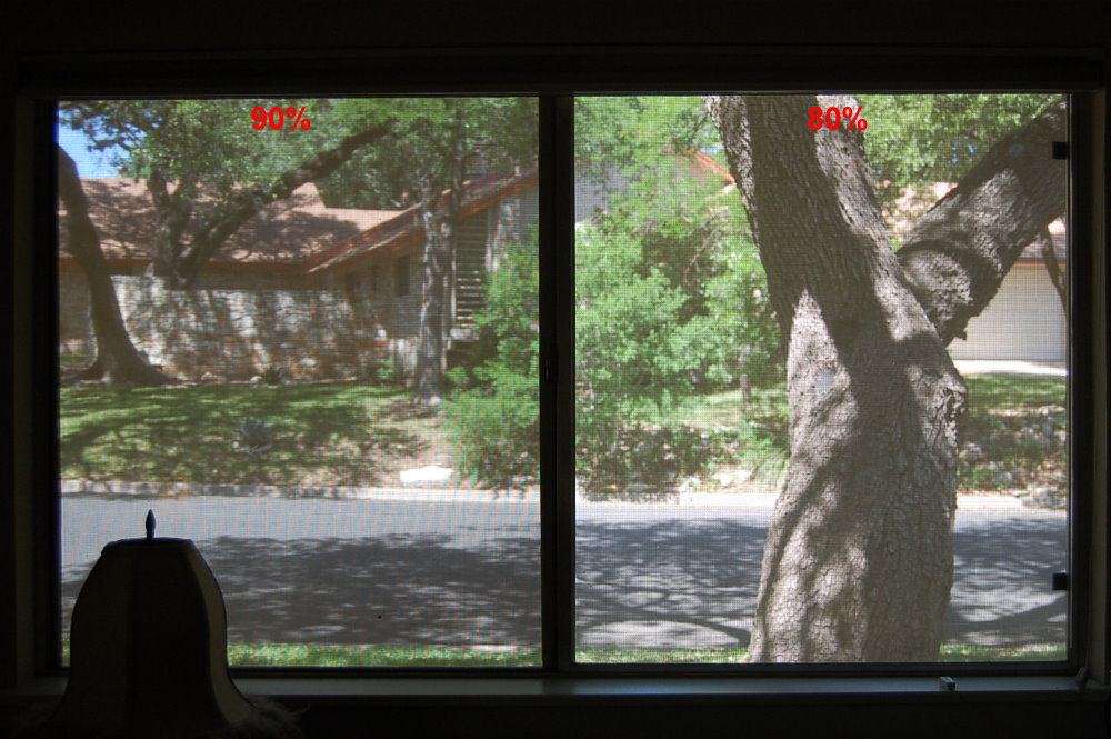 Looking out during the day, comparing an 80% solar screen next to a 90% solar screen. Outward visibility, seeing through Beige solar screen fabric.