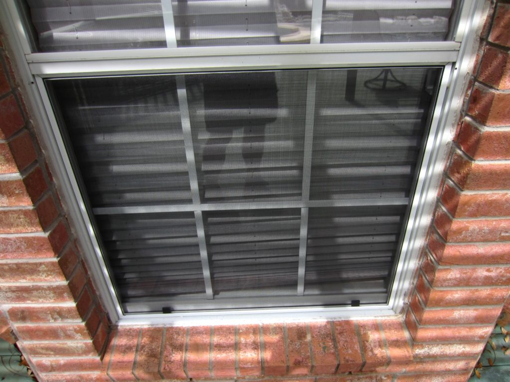 Shows traditional 3/4 inch insect bug window screen framing.