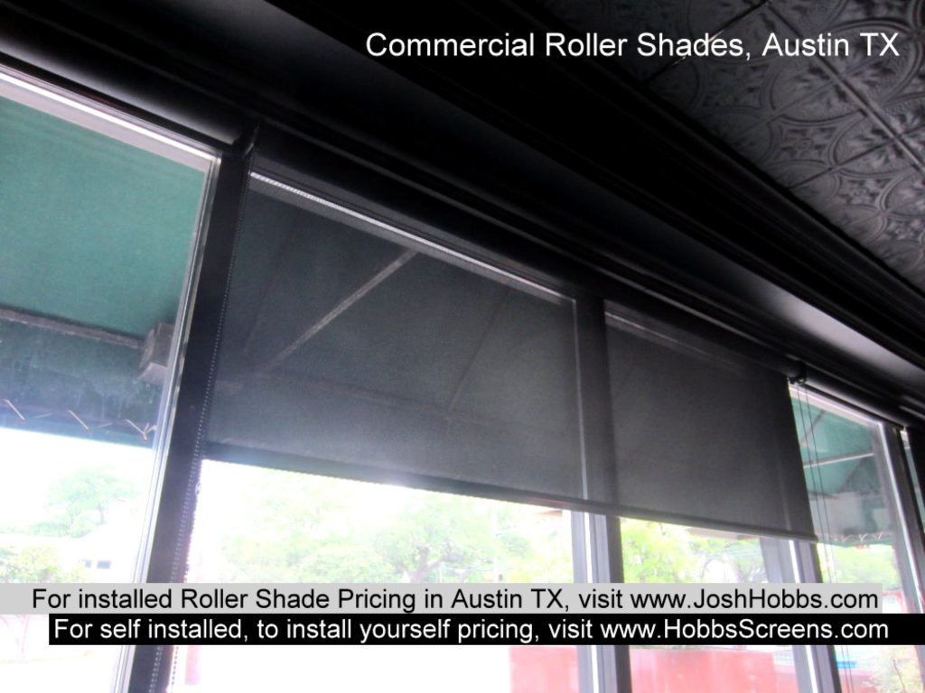 Austin TX commercial grade roller shades are available in beige / white, beige and black 92% to 97% fabrics.