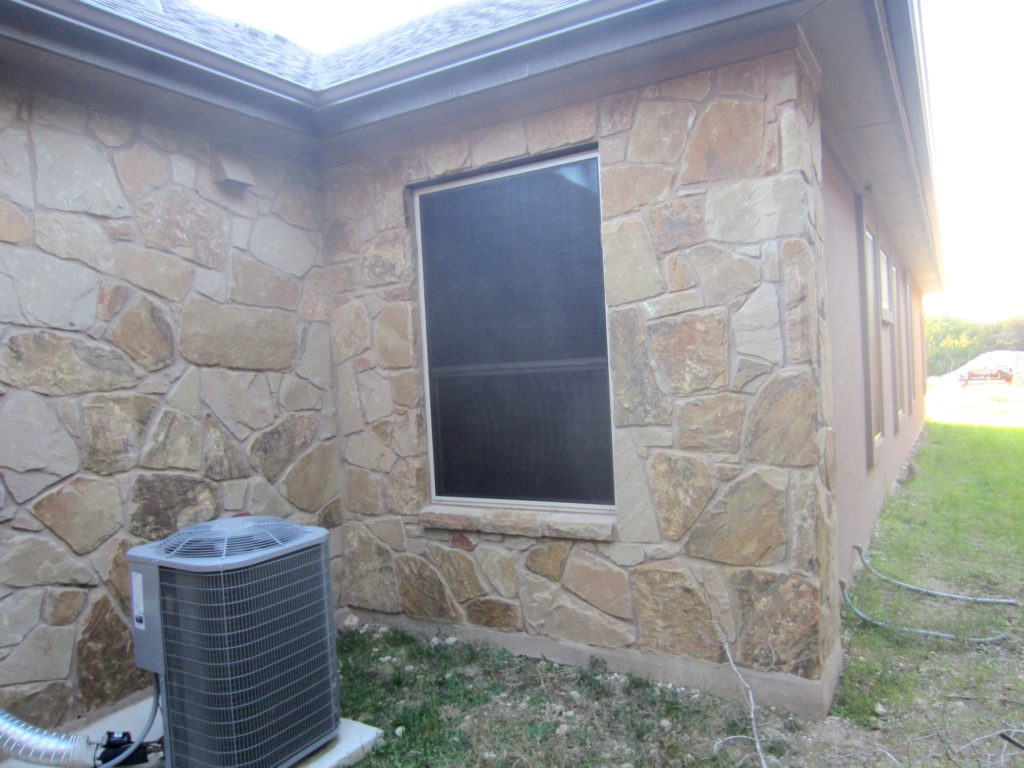 One 46x70 installed 80% Liberty Hill TX solar screen on the front / right of this home.