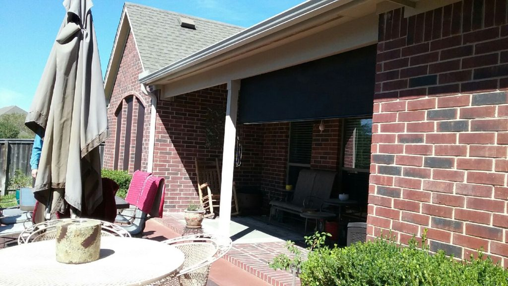 Exterior Patio Roll Shade, installed in Manor TX