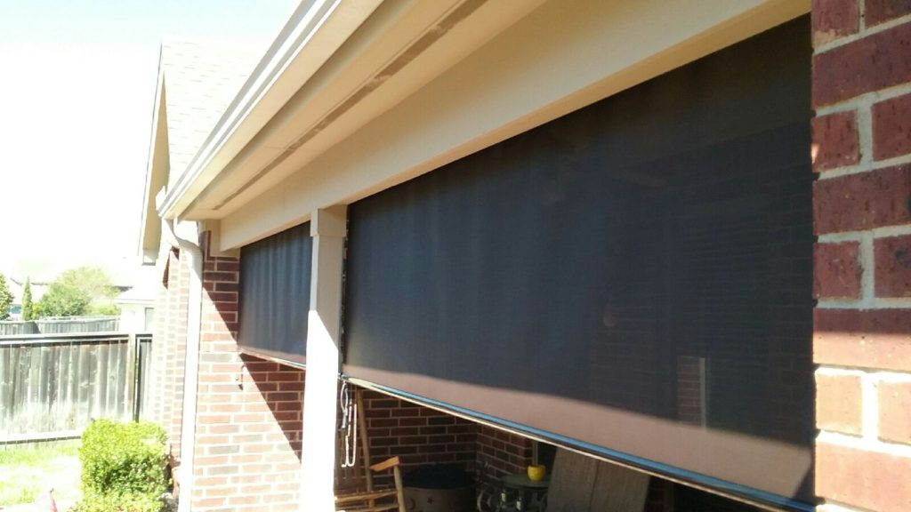 Two 10' wide 90% Austin TX Exterior Patio Roller shades.