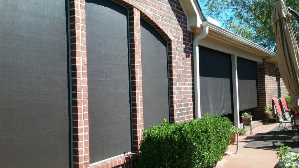 Three arched 90% solar window screens and two 10' wide 90% roller shade screens.