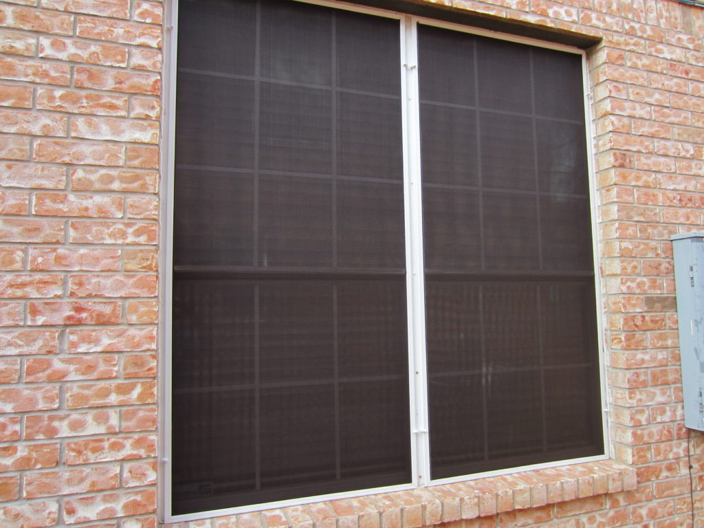 This is a Pflugerville TX solar screens installation that we used on the majority of the windows metal turn clips for.