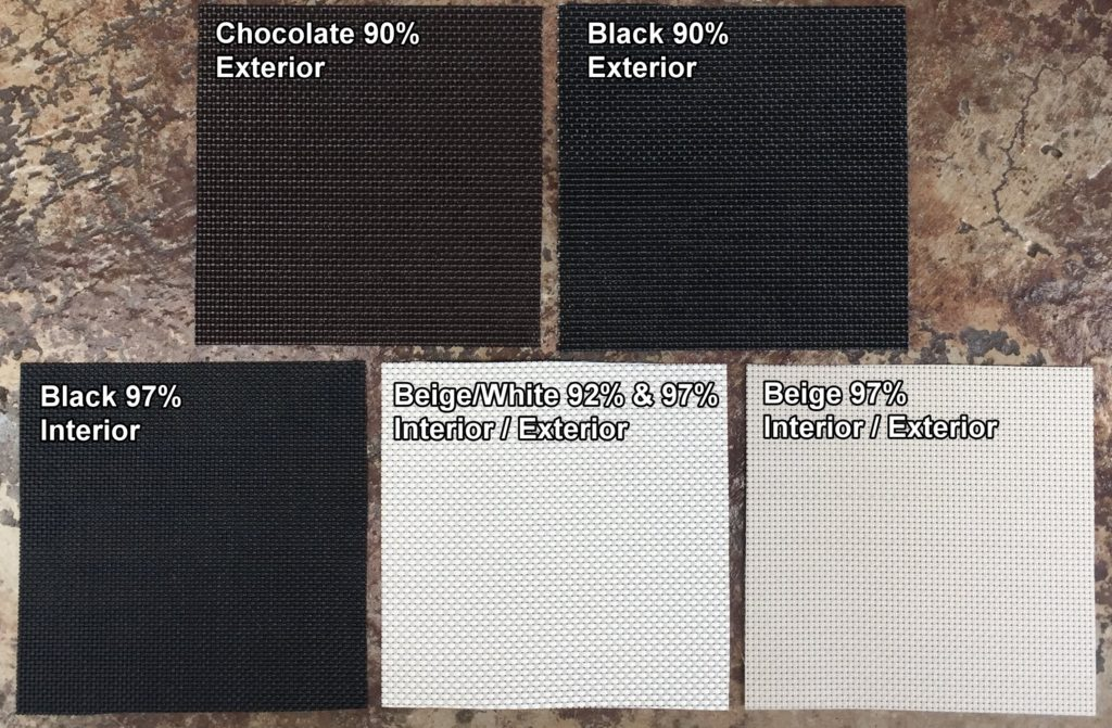 Fabric color options for our Patio Sun Screens