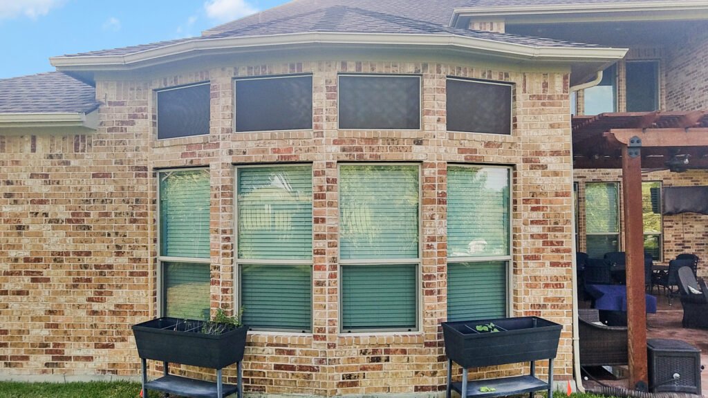 Transom windows shaded