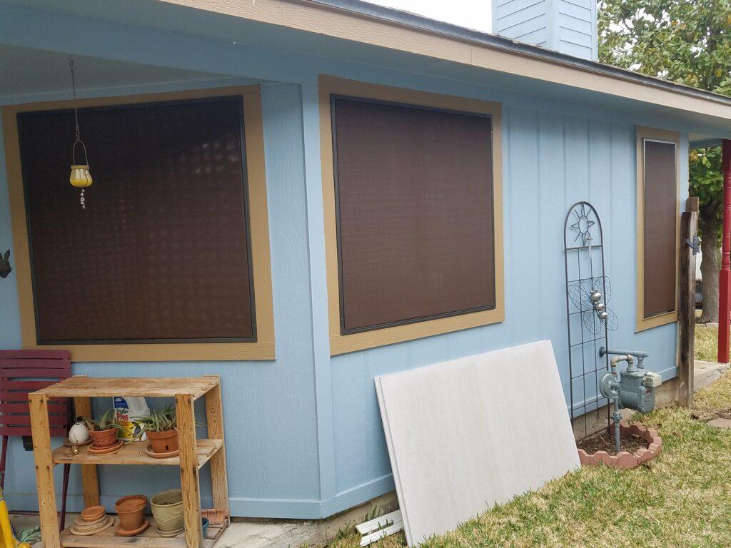 Mocha fabric Brown frame Austin TX solar screens